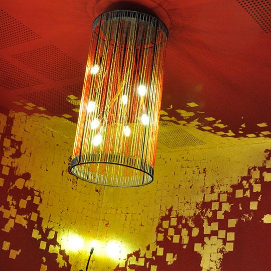 Restaurant Chalet des Iles, Daumesnil - Lustre perles et acier, diamètre 50cm Ht 100cm