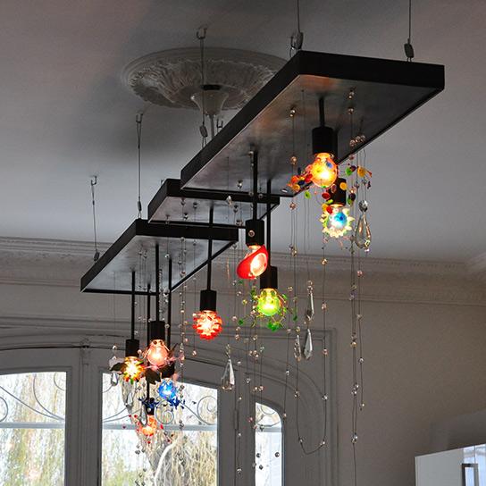 Suspension en acier pour comptoir avec suspension ampoules et cristaux