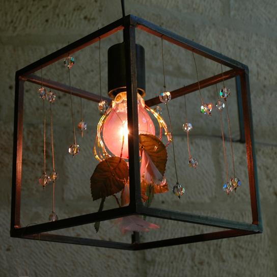 Cairo - Suspension Cubique small avec cristaux - 280 €